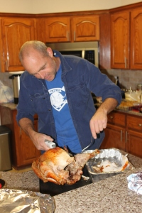 Rusty (my brother-in-law) has taken my daddy's place as the turkey chef/carver.