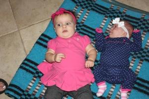 Lauren meeting her new cousin, Madi
