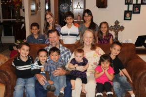 Grandpa Tom, Grandma Nelda, and the grandkids